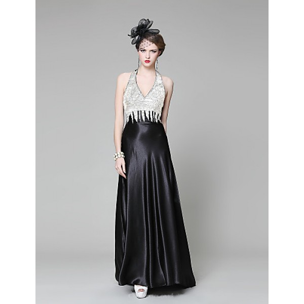 Formal Evening Dress - Pool / Black Ball Gown V-neck Chapel Train Stretch Satin / Knit Special Occasion Dresses