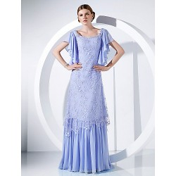 Formal Evening / Military Ball Dress - Lavender Plus Sizes / Petite A-line / Princess Scoop Floor-length Chiffon / Lace