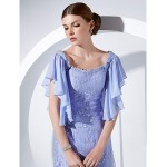 Formal Evening / Military Ball Dress - Lavender Plus Sizes / Petite A-line / Princess Scoop Floor-length Chiffon / Lace Special Occasion Dresses