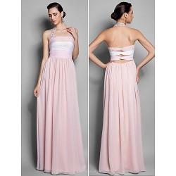 Formal Evening Prom Military Ball Dress Multi Color Plus Sizes Petite Sheath Column Halter Floor Length Chiffon