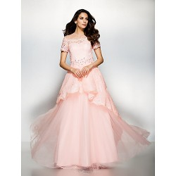 Formal Evening Dress Pearl Pink A Line Jewel Floor Length Lace Tulle