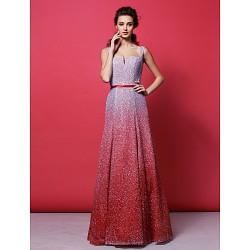 Formal Evening Dress - Multi-color Plus Sizes / Petite A-line Straps Floor-length Sequined