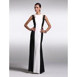 Formal Evening Dress Multi Color Plus Sizes Petite Sheath Column Jewel Floor Length Chiffon