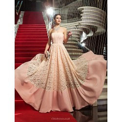 Formal Evening Military Ball Dress Pearl Pink Plus Sizes Petite Sheath Column Strapless Floor Length Lace Stretch Satin