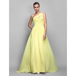 Formal Evening Prom Military Ball Dress Daffodil Plus Sizes Petite Sheath Column One Shoulder Sweep Brush Train Georgette