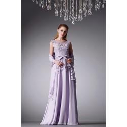 Formal Evening Dress - Lavender A-line Jewel Floor-length Chiffon / Satin