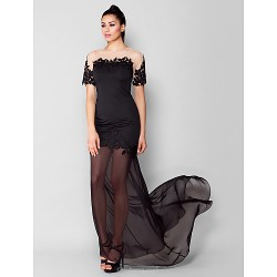 Formal Evening Dress - Black Plus Sizes / Petite Sheath/Column Jewel Sweep/Brush Train Chiffon / Jersey