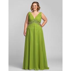 Formal Evening Prom Military Ball Dress Clover Plus Sizes Petite A Line V Neck Floor Length Chiffon