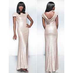 Formal Evening Dress Champagne Plus Sizes Petite Sheath Column Scoop Floor Length Sequined