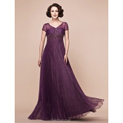 A-line Plus Sizes / Petite Mother of the Bride Dress - Grape Floor-length Short Sleeve Organza