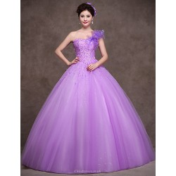 Formal Evening Dress Lilac Petite Ball Gown One Shoulder Floor Length Satin Tulle Stretch Satin