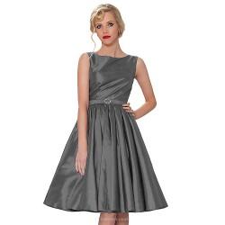 Tea Length Taffeta Bridesmaid Dress Blushing Pink Regency Gray Ball Gown Bateau