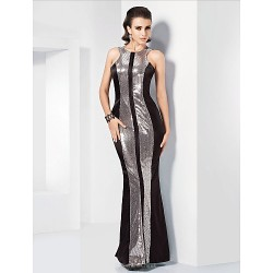 Formal Evening Military Ball Dress Multi Color Plus Sizes Petite Trumpet Mermaid Jewel Floor Length Stretch Satin Sequined