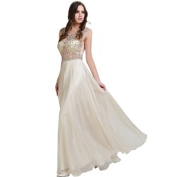 Formal Evening Dress Champagne Plus Sizes Petite A Line Scoop Floor Length Chiffon Stretch Satin