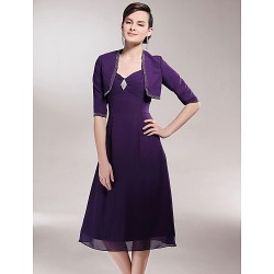 A-line Plus Sizes / Petite Mother of the Bride Dress - Grape Tea-length Half Sleeve Chiffon