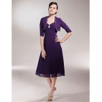 A-line Plus Sizes / Petite Mother of the Bride Dress - Grape Tea-length Half Sleeve Chiffon Mother Of The Bride Dresses