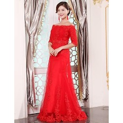 Formal Evening Dress Ruby Plus Sizes A Line Off The Shoulder Floor Length Tulle