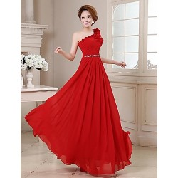 Formal Evening Dress Ruby Plus Sizes A Line One Shoulder Floor Length Georgette
