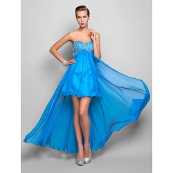 Cocktail Party Homecoming Holiday Dress Ocean Blue Plus Sizes Petite A Line Sweetheart Asymmetrical Chiffon