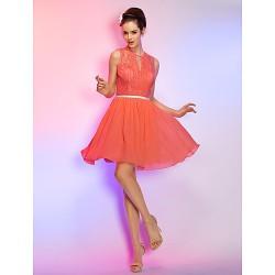 Cocktail Party Homecoming Holiday Dress Watermelon Plus Sizes Petite A Line Jewel Short Mini Chiffon Lace