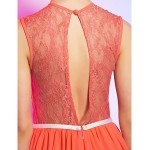 Cocktail Party / Homecoming / Holiday Dress - Watermelon Plus Sizes / Petite A-line Jewel Short/Mini Chiffon / Lace Special Occasion Dresses
