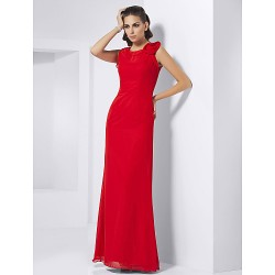 Formal Evening Prom Military Ball Dress Ruby Plus Sizes Petite Sheath Column Jewel Floor Length Chiffon