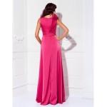 Formal Evening / Prom / Military Ball Dress - Watermelon Plus Sizes / Petite Sheath/Column Scoop Floor-length Satin Chiffon Special Occasion Dresses