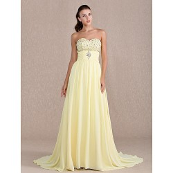 Formal Evening Prom Military Ball Dress Daffodil Plus Sizes Petite Sheath Column Sweetheart Sweep Brush Train Chiffon