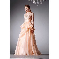 Formal Evening Dress Champagne A Line Jewel Floor Length Organza