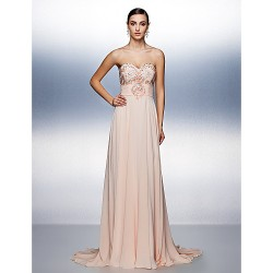 Prom Formal Evening Dress Pearl Pink Plus Sizes Petite A Line Strapless Sweep Brush Train Chiffon