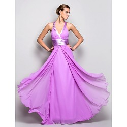 Prom / Military Ball / Formal Evening Dress - Lilac Plus Sizes / Petite A-line Halter Floor-length Georgette