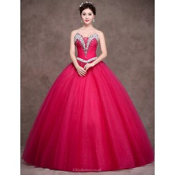 Formal Evening Dress Fuchsia Petite Ball Gown Strapless Floor Length Satin Tulle Stretch Satin