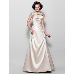 A Line Plus Sizes Petite Mother Of The Bride Dress Champagne Floor Length Sleeveless Satin