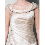 A-line Plus Sizes / Petite Mother of the Bride Dress - Champagne Floor-length Sleeveless Satin Mother Of The Bride Dresses