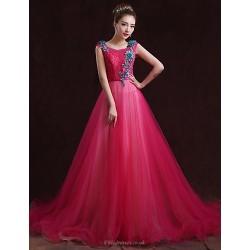 Formal Evening Dress Fuchsia A Line Bateau Floor Length Satin