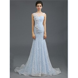 Formal Evening Dress Sky Blue Plus Sizes Petite Trumpet Mermaid Jewel Sweep Brush Train Lace