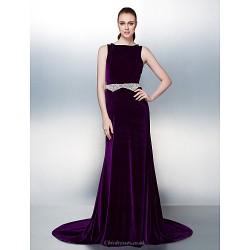 Dress Regency Plus Sizes Petite A Line Bateau Court Train Velvet