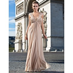Formal Evening Military Ball Dress Champagne Plus Sizes Petite Sheath Column V Neck Floor Length Chiffon