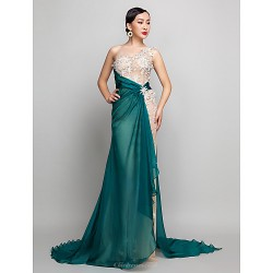 Military Ball / Formal Evening Dress - Champagne Plus Sizes / Petite A-line One Shoulder Sweep/Brush Train Chiffon