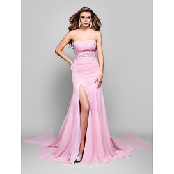 Military Ball Formal Evening Dress Candy Pink Plus Sizes Petite Trumpet Mermaid Strapless Sweep Brush Train Chiffon
