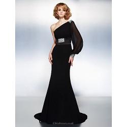 Formal Evening Dress Black Plus Sizes Petite Trumpet Mermaid One Shoulder Court Train Georgette