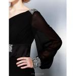 TS Couture Formal Evening Dress - Black Plus Sizes / Petite Trumpet/Mermaid One Shoulder Court Train Georgette Special Occasion Dresses