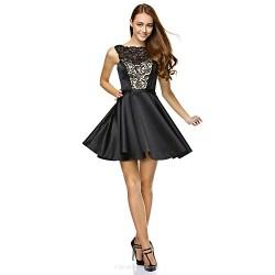 Cocktail Party Dress - Black A-line Strapless Short/Mini Lace / Satin