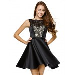 TS Couture Cocktail Party Dress - Black A-line Strapless Short/Mini Lace / Satin Special Occasion Dresses