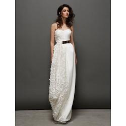 Formal Evening Dress - Ivory Sheath/Column Sweetheart Floor-length Lace