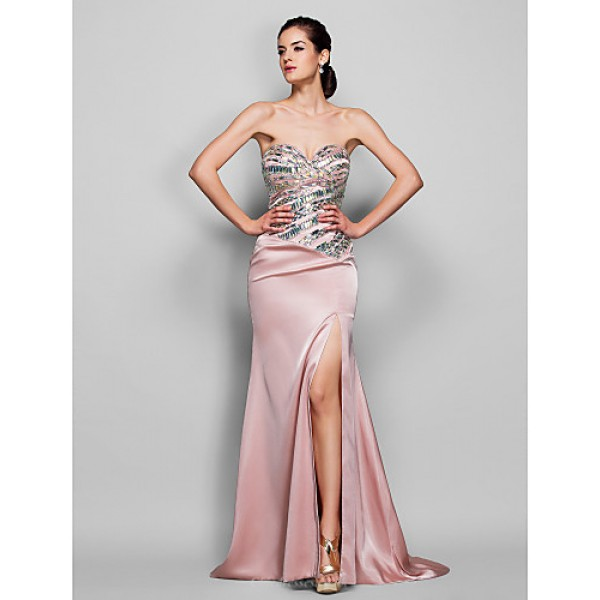 Formal Evening Dress - Pearl Pink Plus Sizes / Petite Trumpet/Mermaid Sweetheart Sweep/Brush Train Stretch Satin Special Occasion Dresses