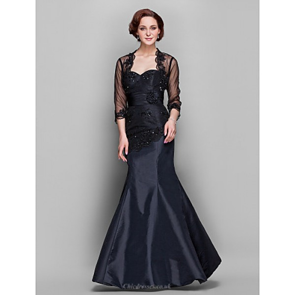 Wedding Party / Formal Evening / Military Ball Dress - Black Plus Sizes / Petite Trumpet/Mermaid Sweetheart Floor-length Taffeta / Tulle Special Occasion Dresses