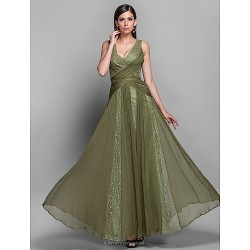 Formal Evening Military Ball Dress Clover Plus Sizes Petite A Line Princess V Neck Floor Length Chiffon Lace