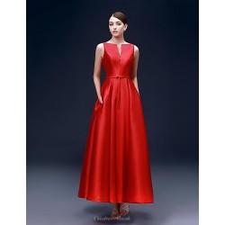 Formal Evening Dress Ruby Plus Sizes A Line Bateau Ankle Length Satin