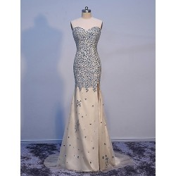 Formal Evening Dress Champagne Trumpet Mermaid Sweetheart Floor Length Tulle With Crystals